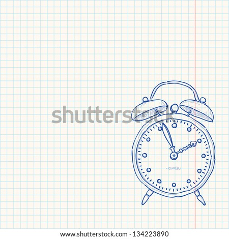 Alarm Clock Doodle - Classic clock as a blue sketch on bright yellow paper - stock vector