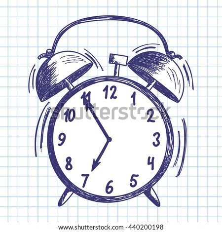 Alarm clock. Doodle sketch on checkered paper background. Vector illustration.