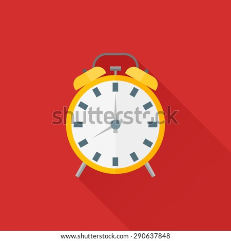 Alarm clock flat icon with long shadow - stock vector