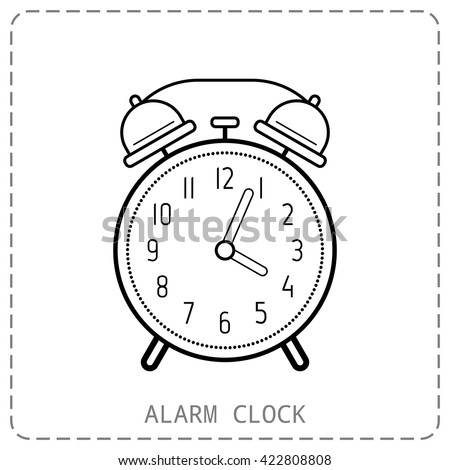 Alarm clock, flat linear icon. Clock isolated on white background - stock vector