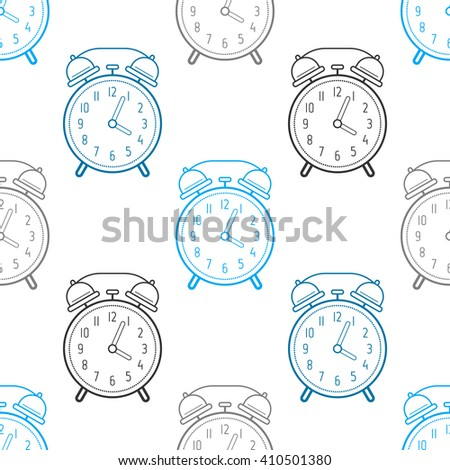 Alarm clock, flat linear icon. Seamless pattern. Time. Vector - stock vector