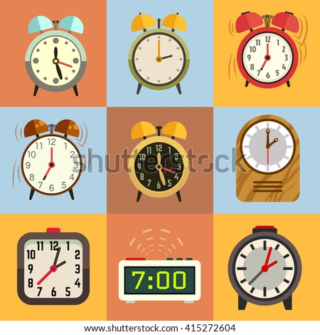 Alarm clock flat vector icons. Time clock, icon set clock, face clock illustration - stock vector