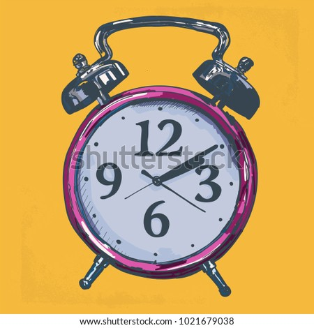 Alarm Clock Hand Drawn Coloured Pop Art Illustration. Wake Up Call Vector Drawing.