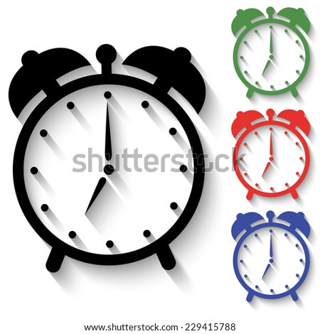 alarm clock icon - black and colored (green, red, blue) illustration with shadow - stock vector
