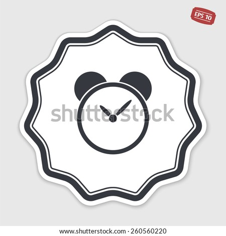 Alarm clock icon. Flat design style. Made vector illustration. Emblem or label with shadow. - stock vector