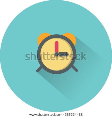 Alarm clock icon. Flat vector illustration - stock vector