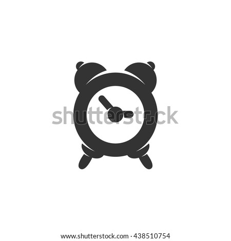 Alarm clock icon isolated on a white background. Logo silhouette design template. Simple symbol concept in flat style. Abstract sign, pictogram for web, mobile and infographics - stock vector