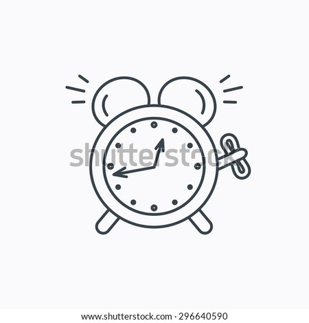 Alarm clock icon. Mechanical retro time sign. Watch with bell symbol. Linear outline icon on white background. Vector - stock vector