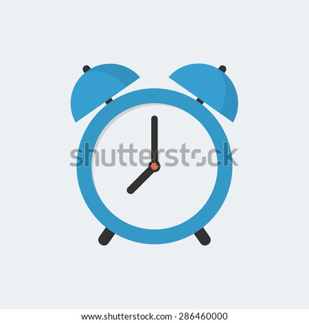 Alarm clock icon, modern minimal flat design style, vector illustration - stock vector