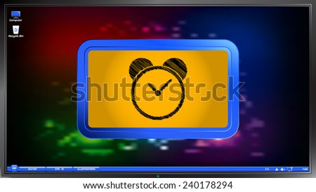 Alarm clock icon on the screen monitor. Scribble and hatching style. Made vector illustration - stock vector