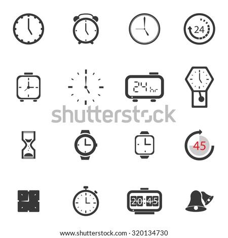 Alarm clock icon sets vector symbol. - stock vector