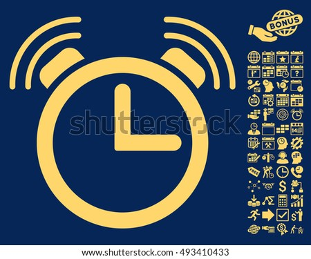 Alarm Clock icon with bonus calendar and time management icon set. Vector illustration style is flat iconic symbols, yellow color, blue background.