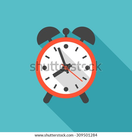 Alarm clock icon with long shadow. Flat design style. Clock silhouette. Simple icon. Modern flat icon in stylish colors. Web site page and mobile app design element. - stock vector