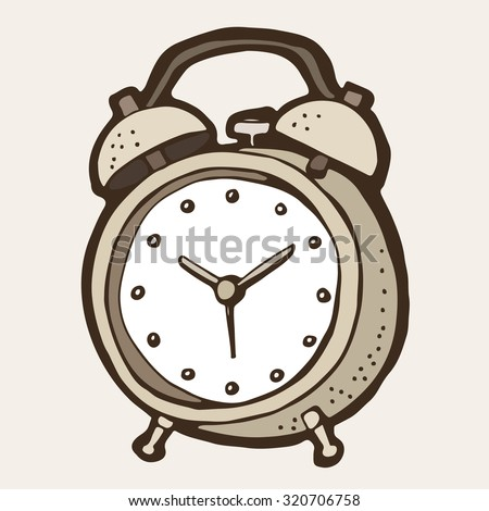 Alarm clock illustration, hand drawn clock in retro style - stock vector