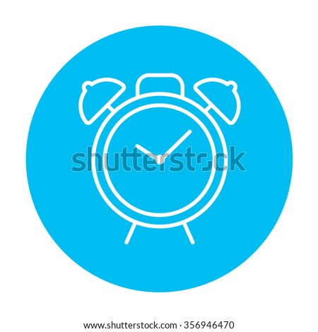 Alarm clock line icon for web, mobile and infographics. Vector white icon on the light blue circle isolated on white background. - stock vector