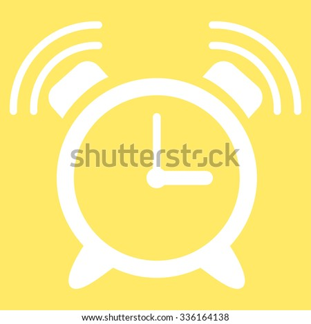 Alarm Clock Ring vector icon. Style is flat symbol, white color, rounded angles, yellow background. - stock vector