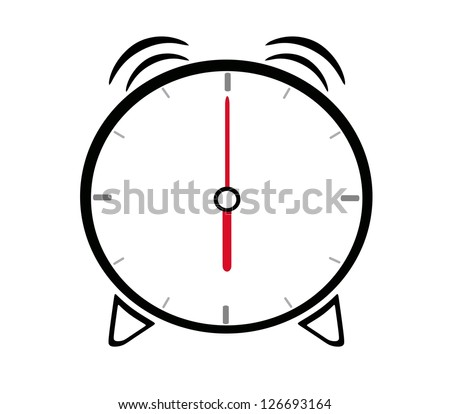 alarm clock showing six o'clock - stock vector