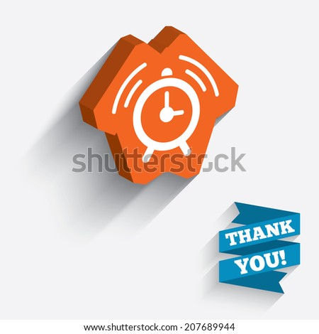 Alarm clock sign icon. Wake up alarm symbol. White icon on orange 3D piece of wall. Carved in stone with long flat shadow. Vector