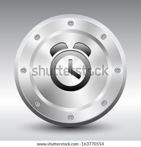 Alarm Clock symbol icon on silver button, Vector illustration image. - stock vector