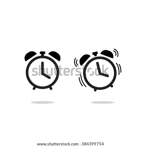 Alarm clock vector icon isolated on white background, simple line outline style, alarm clock ringing icon modern design - stock vector