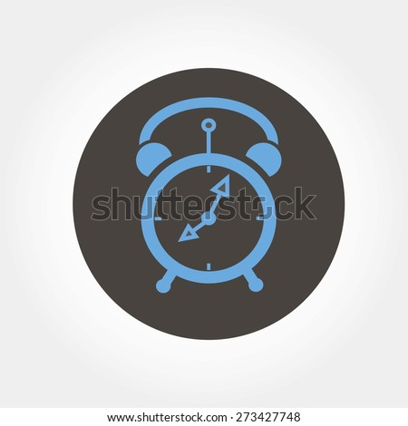alarm-clock, vector illustration , grey and blue background - stock vector