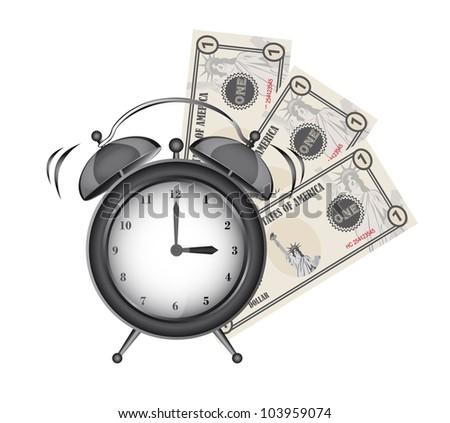 alarm clock with bills isolated over white background. vector - stock vector