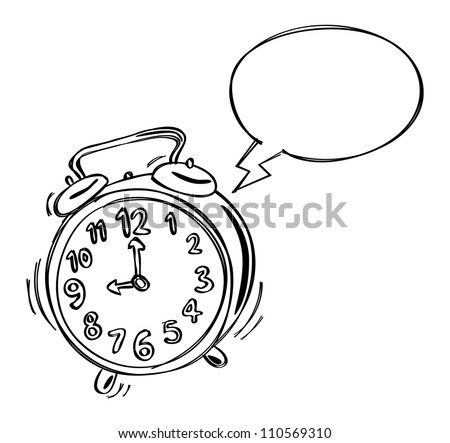 alarm clock with bubble speech - stock vector