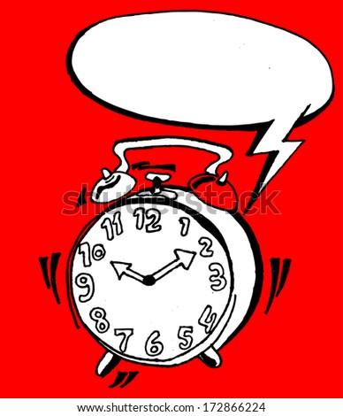 alarm clock with bubble speech - stock vector