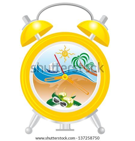 alarm clock with sea landscape - stock vector