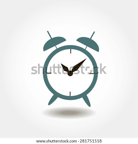 alarm clock with two arrows - stock vector