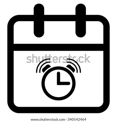 Alarm Date vector icon. Style is flat symbol, black color, rounded angles, white background. - stock vector