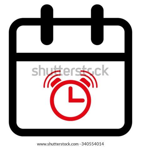 Alarm Day vector icon. Style is bicolor flat symbol, intensive red and black colors, rounded angles, white background. - stock vector