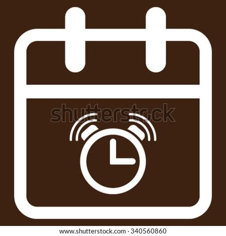 Alarm Day vector icon. Style is flat symbol, white color, rounded angles, brown background. - stock vector
