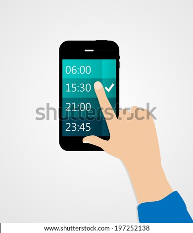 Alarm for Different Electronic Devices Concept. Vector Illustration