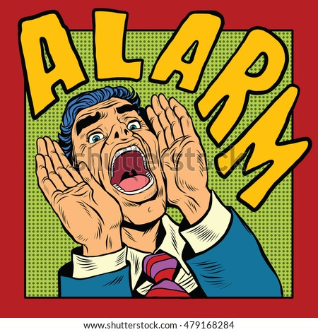 Alarm screams pop art man, retro comic book illustration