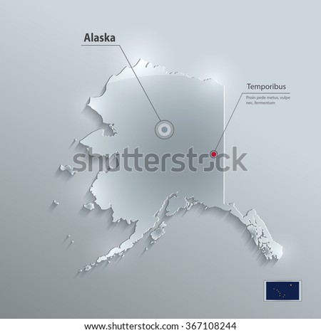 Alaska map flag glass card paper 3D vector - stock vector