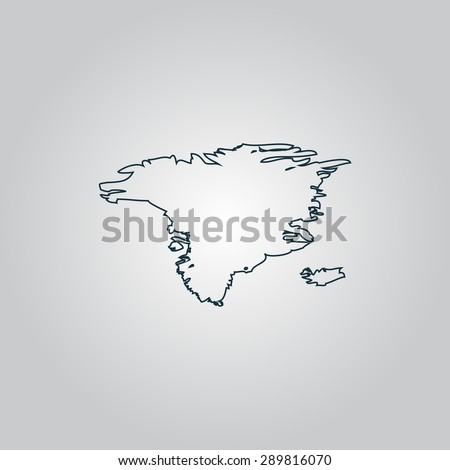 Alaska map. Flat web icon, sign or button isolated on grey background. Collection modern trend concept design style vector illustration symbol - stock vector