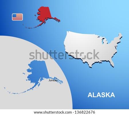 Alaska On Usa Map Map State Stock Vector 136822676 Shutterstock