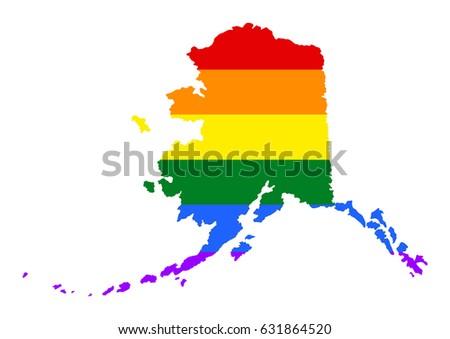 Alaska Pride Gay Vector Map Rainbow Stock Vector - Alaska over us map