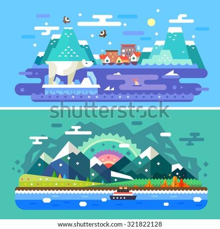 Alaska skylines: winter nature, polar bear, ship, Pacific Ocean, mountains, sea, snow, north. 2 Sets of vector  flat colorful illustrations. - stock vector