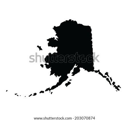 Alaska vector map isolated on white background silhouette. High detailed illustration.   - stock vector