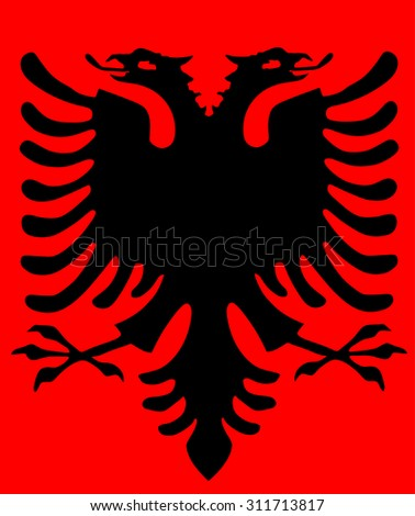 Albania coat of arms vector, isolated on red background.