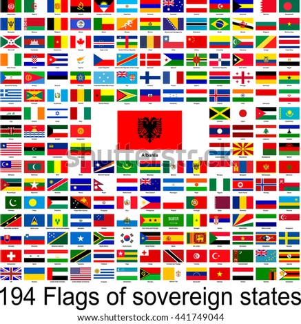 Albania, collection of vector images of flags of the world