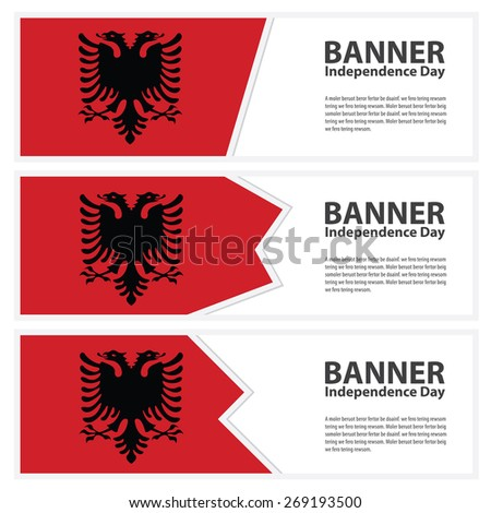 albania Flag banners collection independence day template backgrounds, infographic - stock vector