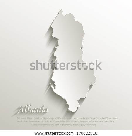 Albania Map Vector Albania Map Card Paper 3d