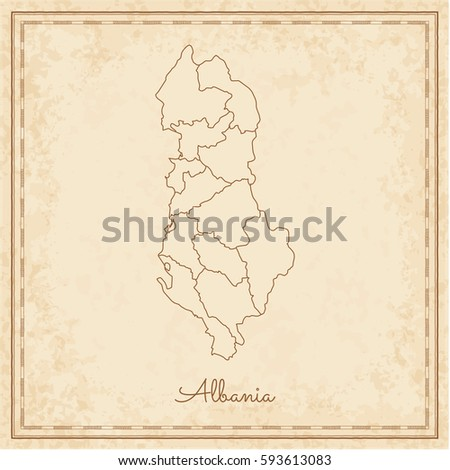 Albania region map stilyzed old pirate stock vector 593613083 albania region map stilyzed old pirate parchment imitation detailed map of albania regions publicscrutiny Choice Image