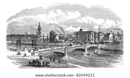 Albert bridge in Glasgow, Scotland, during the 1890s, vintage engraving. Old engraved illustration of Albert bridge with buildings in back. Trousset encyclopedia (1886 - 1891).