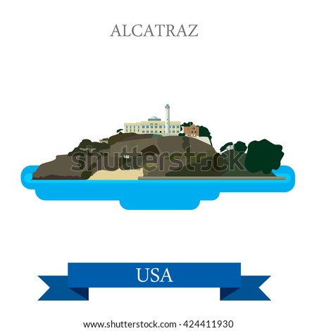 Alcatraz Island Prison in San Francisco United States. Flat cartoon style historic sight showplace attraction web site vector illustration. World travel sightseeing North America USA collection. - stock vector