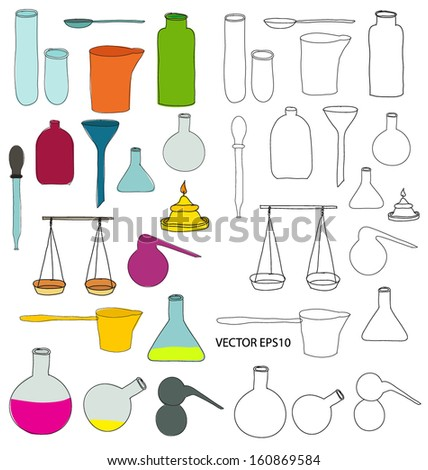 Alchemy doodle drawing equipment vector - stock vector