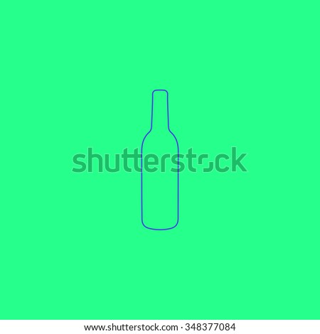 alcohol bottle Simple outline vector icon on green background  - stock vector